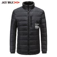 【满300减30】拉夏贝尔男装Jackwalk立领羽绒服冬季新品印花羽绒外套男休闲