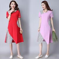 中国风女装春装新款原创设计品牌民族风女装拼色碎花连衣裙女