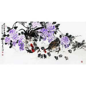 冯云龙《紫气东来》1 著名画家  有作者本人授权 带收藏证书