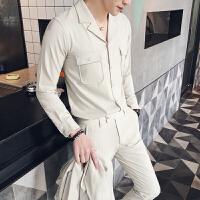 新款 修身西装领衬衣 潮男士纯色长袖衬衫 休闲裤 套装 两件套