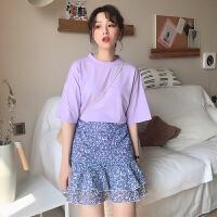 春装2018韩版女装时尚休闲套装春夏短袖T恤上衣+碎花荷叶边半身裙