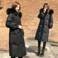 羽绒服女中长款2018冬季韩版时尚显瘦大毛领加厚白鸭绒外套潮