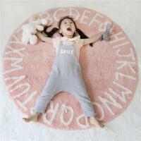 地垫字母圆形地垫儿童房地毯游戏帐篷爬行垫毛绒读书角