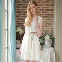 夏装新品-V领无袖连衣裙纯棉松紧腰衬衫裙女D728612L30