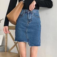 夏季女装韩版高腰显瘦不规则牛仔短裙A字裙学生毛边包臀裙半身裙