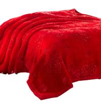 毛毯加厚大红色结婚庆双层双人拉舍尔冬季保暖被子珊瑚绒盖毯*