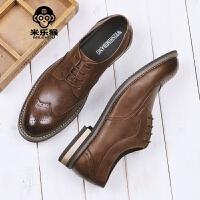 米乐猴 潮牌英伦男士雕花皮鞋复古做旧男鞋潮流休闲系带皮鞋商务正装鞋男鞋