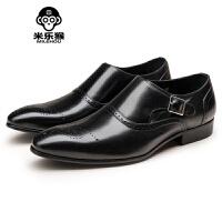 米乐猴 潮牌男士尖头皮鞋头层英伦雕花男鞋商务休闲鞋男男鞋