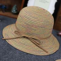 夏季儿童帽子女童小孩沙滩草帽百搭防晒遮阳帽公主韩版渔夫帽 均码