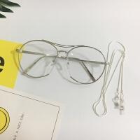 眼镜复古男近视眼镜女圆脸大框平光镜 +链条(预售3-4天后发)