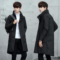 男士羽绒服中长款男生时尚衣服韩版立领冬季外套潮流帅气2018新款