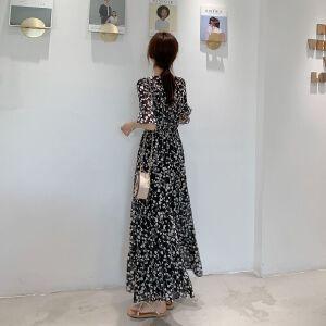 安妮纯雪纺连衣裙夏装2019新款女时尚复古碎花大摆长裙V领时髦洋气裙子