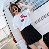 情侣装夏装2018新款韩版宽松百搭学院风短袖T恤夏季学生班服套装