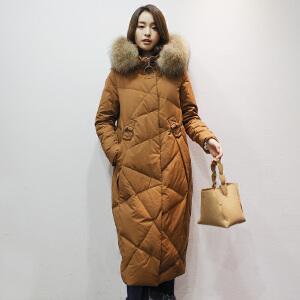 yaloo/雅鹿羽绒服女中长款2017新款 韩版 潮收腰过膝鹅绒大毛领潮