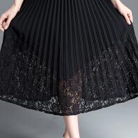 黑色蕾丝裙半身裙女春夏中长款字裙高腰大码时尚半身长裙
