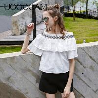 UGOCCAM2018春装新款一字肩条纹漏锁骨蝴蝶结雪纺衫女衬衫