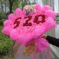 【新款上市】情人节礼物送女友卡通花束创意小熊娃娃公仔仿真玫瑰99朵母情人节送女友生日礼物