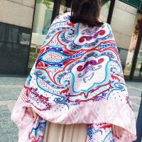 夏季民族风丝巾围巾披肩沙滩巾女士披巾遮阳百搭休闲