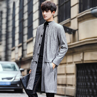 18秋季款男式韩版修身立领薄款风衣外套潮流青年中长款外套上衣服