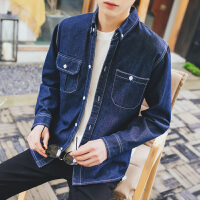 新款港风牛仔衬衫男长袖春季潮男装青年韩版修身休闲衬衣男士外套