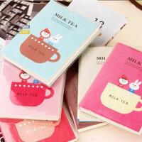 可爱韩国文具 奶茶时光胶套本便签本 便携记事本可定制LOGO