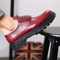 CUM 潮牌男士休闲皮鞋青年潮流增高厚底板鞋英伦风时尚驾车鞋舒服系带上班鞋