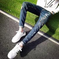 春季新款牛仔裤男小脚青年修身韩版潮流发型师破洞夜店显瘦休闲裤