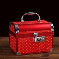 首饰盒结婚嫁妆红色陪嫁首饰盒公主欧式韩国带锁化妆盒结婚庆礼物