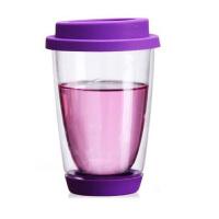 350ml绚丽杯情侣杯双层耐热手工艺玻璃杯彩色带硅胶盖底垫茶杯玻璃牛奶杯水杯子紫色