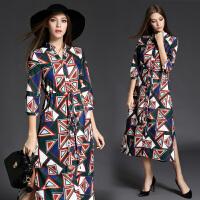 新款女装七分袖连衣裙韩版V领修身显瘦几何印花长裙打底A字裙