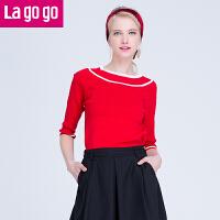 【6.29日限时秒杀价72】Lagogo2017春夏新款韩版套头毛衣七分袖修身打底上衣条纹女针织衫