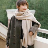 柔软亲肤韩版秋冬季保暖纯色学生女针织仿羊绒围巾大披肩两用百搭