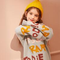 【早春2件4折:99】巴拉巴拉旗下巴帝巴帝女童毛衣2019新款儿童高领毛衫冬装外穿宽松字母女