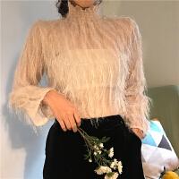 春季韩版chic性感立领木耳边喇叭袖毛毛流苏雪纺衫长袖打底上衣女
