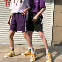 韩国INS同款黑白棋盘格子拼接紫色短裤 18ss男女款