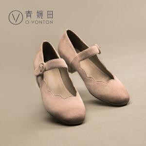 青婉田17春夏新款文艺复古一字扣羊皮粗跟浅口单鞋女中跟玛丽珍鞋