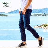 七匹狼牛仔裤 年休闲男士中腰修身小脚长裤 男装正品