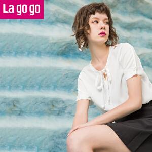 Lagogo2017夏季新款白色短袖雪纺衫T恤蝴蝶结系带圆领女上衣
