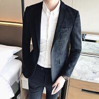 新款18秋冬男士西装外套韩版修身金丝绒休闲小西服青少年时尚单西