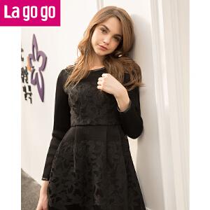 lagogo秋冬新款韩版黑色欧根纱长袖高腰连衣裙女蕾丝a字裙