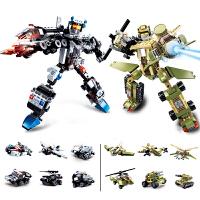 【满200减100】小鲁班军事积木系列儿童益智拼装积木玩具6合一