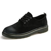 春季韩版潮流男鞋英伦系带男士皮鞋休闲百搭青年潮鞋黑