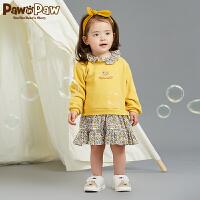 【3件4折 到手价:239】Pawinpaw卡通小熊童装秋女宝宝假两件碎花长袖连衣裙