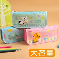 卡通动物笔袋可爱超萌少女心粉红色儿童文具盒小学生用品创意帆布笔袋简约韩国小清新大容量创意男孩子女生版