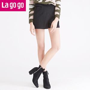 Lagogo/拉谷谷年冬季新款女装秋冬女裤裤子休闲短裤