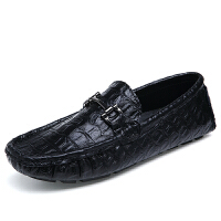 西瑞男鞋英伦单鞋豆豆鞋男黑色男士大码休闲皮鞋潮真皮懒人鞋ZC9831