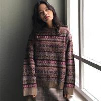 秋冬韩版宽松撞色几何图案长袖针织衫上衣复古百搭套头毛衣外套女