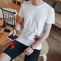 2018潮流夏季新款男士运动套装韩版修身纯棉短袖T恤 短裤两件套