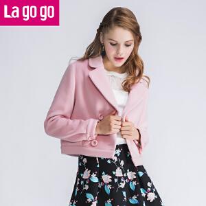 Lagogo冬季新款翻领纯色短款毛呢大衣女秋冬韩版长袖百搭女装外套