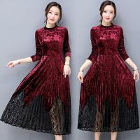 30-40岁秋冬装金丝绒连衣裙雅长袖修身显瘦蕾丝拼接百褶长裙